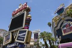 De tekens van Harrahs en van de Luchtspiegeling in Las Vegas Royalty-vrije Stock Afbeelding
