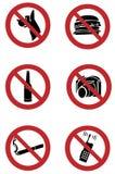 De tekens van het verbod op honden, het roken, voedsel, het drinken, camera Stock Foto