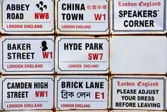 De tekens van Londen stock afbeeldingen