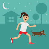 De Tekkelhond van het beeldverhaal lopende meisje De leuke tijd van de de Nachtzomer van de looppasvrouw Huis, boomsilhouet Sterr Royalty-vrije Stock Foto