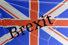 De tekst Brexit op het gebroken glas Het concept een Britse uitgang van de Europese Unie royalty-vrije stock afbeelding