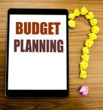 De tekst die van de handschriftaankondiging Begroting Planning tonen Bedrijfsconcept voor het Financiële In de begroting opnemen  Royalty-vrije Stock Afbeelding