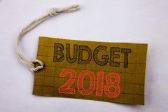 De tekst die van de handschriftaankondiging Begroting 2018 tonen Bedrijfsconcept voor online saleHousehold die boekhouding geschr Royalty-vrije Stock Foto