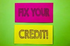 De tekst die van de handschriftaankondiging Moeilijke situatie Uw Krediet tonen De conceptuele Classificatie Avice Fix Improvemen royalty-vrije illustratie