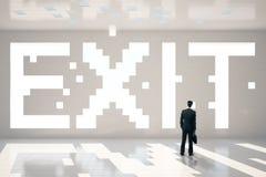 De tekst en de zakenman van de Pixeleduitgang Royalty-vrije Stock Afbeeldingen