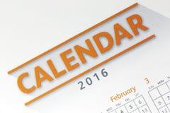 De tekst op kalender toont in het jaar van 2016 Royalty-vrije Stock Afbeeldingen