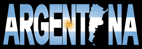 De tekst van Argentinië met kaart Royalty-vrije Stock Afbeelding