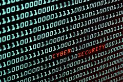De tekst van de Cyberveiligheid en binaire codeconcept van Desktopscr Royalty-vrije Stock Fotografie