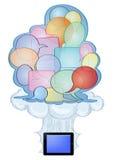De tekst van de bel en tabletPC Stock Afbeeldingen