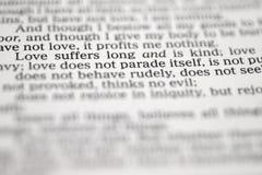 De Tekst Van De Bijbel Over Liefde Stock Foto Afbeelding