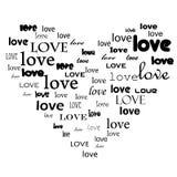 De tekst van de liefde in hartvorm vector illustratie