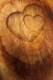 De tekst van de liefde op houten achtergrond Stock Afbeeldingen