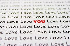 De tekst van de liefde op papier Royalty-vrije Stock Foto's