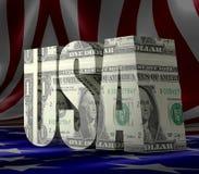 De Tekst van de V.S. met vlagtextuur Stock Afbeeldingen