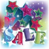 De tekst van de verkoop op een energieke sterrenachtergrond Stock Afbeeldingen