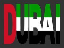 De tekst van Doubai met de Vlag van de V.A.E Royalty-vrije Stock Foto