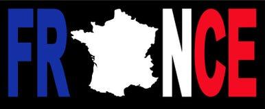 De tekst van Frankrijk met kaart Royalty-vrije Stock Foto
