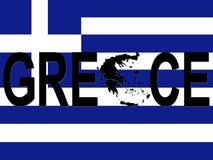 De tekst van Griekenland met kaart stock illustratie