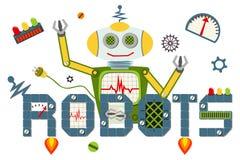De tekst van het robotsembleem op witte achtergrond wordt geïsoleerd die Royalty-vrije Stock Afbeeldingen
