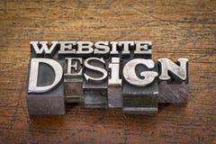De tekst van het websiteontwerp in metaaltype Stock Foto