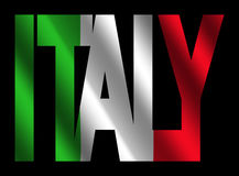 De tekst van Italië met Italiaanse vlag Stock Fotografie