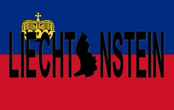 De tekst van Liechtenstein met kaart Stock Foto