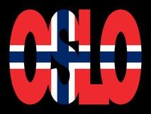 De tekst van Oslo met vlag Stock Foto's