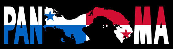 De tekst van Panama met kaart en vlag Stock Afbeeldingen