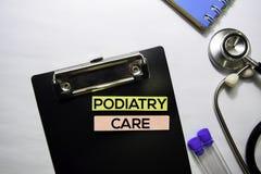 De tekst van de Podiatryzorg op hoogste mening over witte achtergrond Gezondheidszorg/Medisch concept royalty-vrije stock afbeeldingen