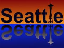 De tekst van Seattle bij schemer vector illustratie