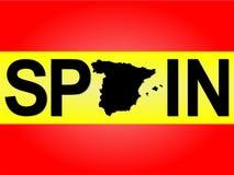 De tekst van Spanje met kaart Stock Foto's