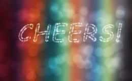 De tekst van toejuichingen voert kleurrijke achtergrond uit Stock Afbeeldingen