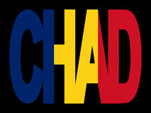 De tekst van Tsjaad met vlag stock illustratie