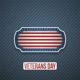 De Tekst van de veteranendag op realistisch Etiket vector illustratie