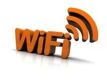 De Tekst van WiFi met het Pictogram van de Antenne Stock Foto