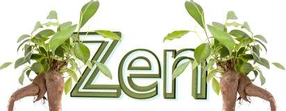 De tekst van Zen met doorbladert Stock Foto
