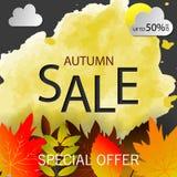 De tekst vectorbanner van de de herfstverkoop met kleurrijke seizoengebonden dalingsbladeren op oranje achtergrond voor het winke stock illustratie