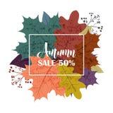 De tekstaffiche van Hello Autumn Sale van September-bladval of herfstgebladerte van esdoorn, eiken eikel en iep voor het winkelen stock illustratie