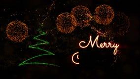 De tekstanimatie van vrolijke Kerstmis met pijnboomboom en vuurwerk stock videobeelden
