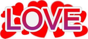 De tekstbanner van de liefde en van de dag van de valentijnskaart Stock Afbeelding