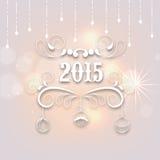 de tekstontwerp van 2015 voor Nieuwjaar en Vrolijke Kerstmisviering Stock Foto