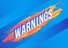 De tekstontwerp van de waarschuwingen isometrisch gradiënt op abstracte geometrische oranje vloeibare kleurenvormen en strepen stock illustratie