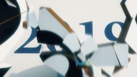 2018-2019 de tekstovergang van het Nieuwjaarconcept stock footage