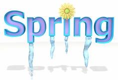 De tekstsmeltingen van de lente met ijskegels en bloem Royalty-vrije Stock Foto's
