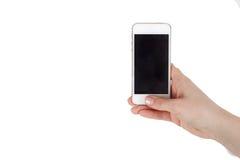 De telefoon is in de hand met het scherm in de camera stock fotografie