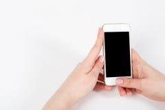 De telefoon is in de hand met het scherm in de camera royalty-vrije stock afbeelding