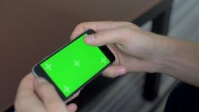 De telefoon op het schermchromakey met tellers stock video