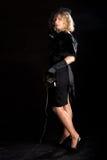 De telefoon van het film noir meisje Stock Fotografie