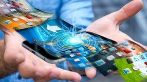 De telefoonachtergrond van de zakenmanomschakeling op moderne apparaten 3D rende Royalty-vrije Stock Afbeeldingen