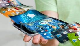 De telefoonachtergrond van de zakenmanomschakeling op moderne apparaten 3D rende Stock Foto